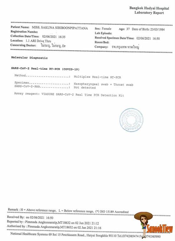 ใบรายงานผลการตรวจ Covid-19 ด้วยวิธี RT-PCR จากการ swab จมูก