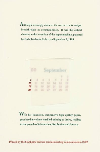 September, 2000, Southpaw Printers