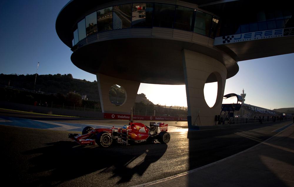 . Fernando Alonso of Spain and Ferrari drives the new F14T car during the 2014 Formula One Testing at the Circuito de Jerez,  Thursday, Jan. 30, 2014, in Jerez de la Frontera, Spain. (AP Photo/Miguel Angel Morenatti)