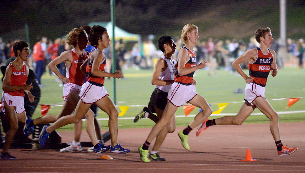 . 05-03-2013-(LANG Staff Photo by Sean Hiller)-  The Bay League track and field finals Friday night at Mira Costa High School. The boys varsity 3200.