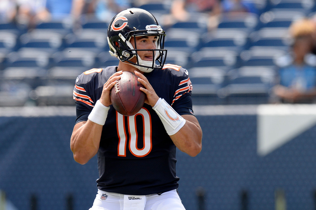 . Chicago Bears quarterback Mitchell Trubisky passes against the Tennessee Titans in the second half of an NFL football preseason game Sunday, Aug. 27, 2017, in Nashville, Tenn. (AP Photo/Mark Zaleski)