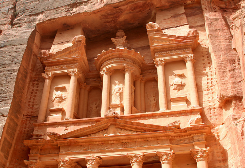 Petra - The upper half of The Treasury.  The niches in the rock either side of the façade are believed to have supported scaffolding during construction.