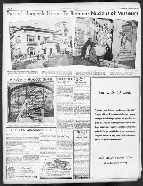 Daily Trojan, Vol. 29, No. 81, February 16, 1938