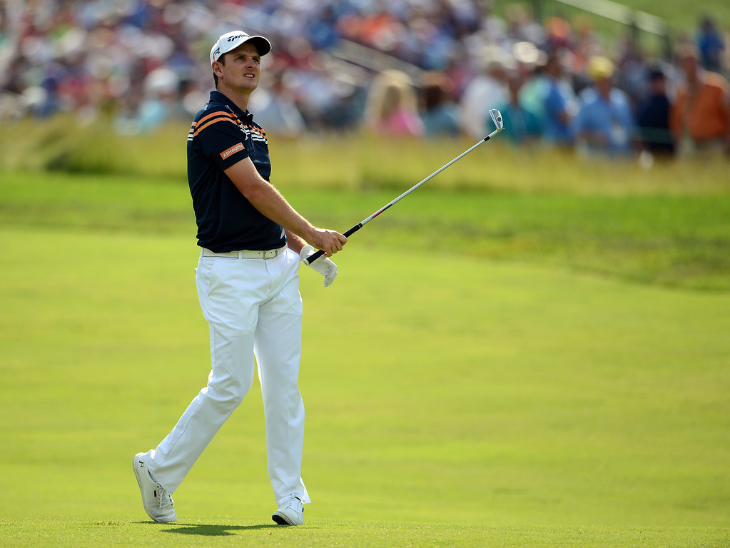. Justin Rose of England plays his second shot on the second hole during Round Two of the 113th U.S. Open at Merion Golf Club on June 14, 2013 in Ardmore, Pennsylvania.  (Photo by David Cannon/Getty Images)