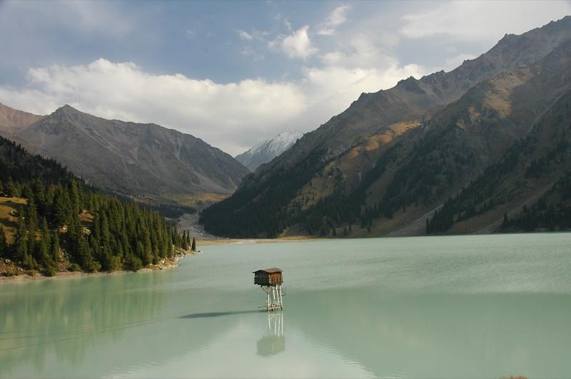 Shack in the Middle of Big Almaty Lake - Tian Shan Mountains, Kazakhstan
