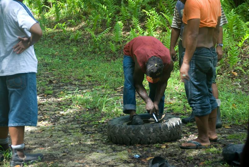 Fixing Flat Tire, Rennell Island - Solomon Islands