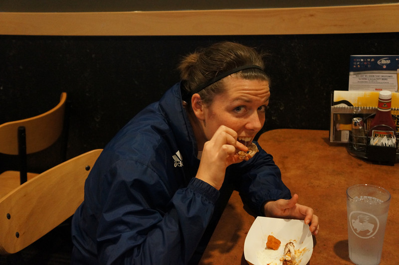 Assistant Girl's Soccer Coach Mia Pauluhn joins teams, alumni & parents Buffalo Wild Wings after the 10th Annual Alumni Soccer Game at Lutheran West.