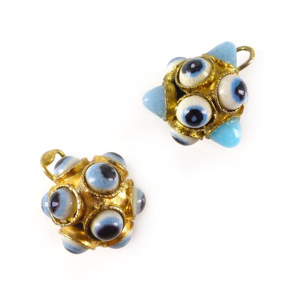 Vintage Gilt Metal Evil Eye Blue Glass Cabochon Charms