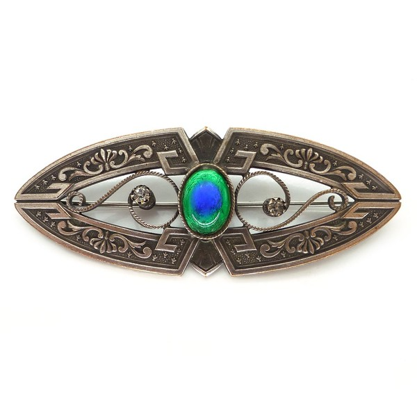 ANTIQUE ART NOUVEAU SILVER METAL PEACOCK EYE FOIL GLASS PANEL BROOCH