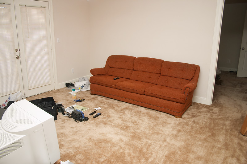Couch! Gross orange couch! But comfortable and big and not pee-stained and only $50