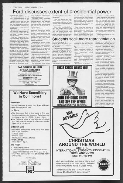 Daily Trojan, Vol. 72, No. 49, December 02, 1977