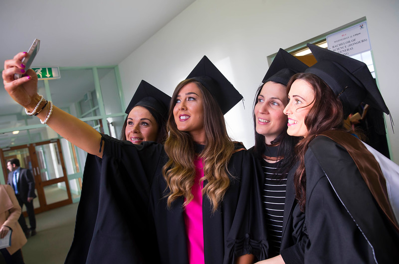 29/10/2015. Waterford Institute of Technology conferring. Pictured are Mary O'Keefe Kilkenny, Maggie Connors, Tipperary, Roisin Wyer, Waterford and Christina O'Keefe from Tramore who graduated Bs (Hons) in Intellectual Disability Nursing. Picture: Patrick Browne