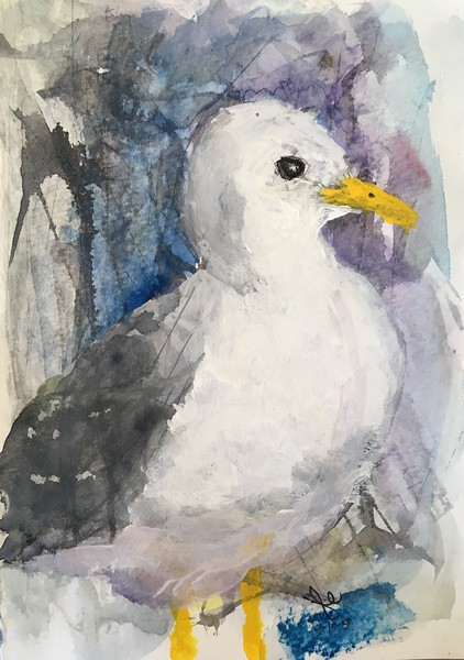 Gull, 8x10 watercolor, SOLD