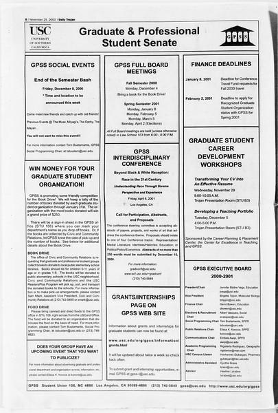Daily Trojan, Vol. 141, No. 61, November 29, 2000