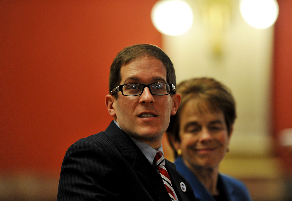. DENVER, CO. - FEBRUARY 28: House Speaker Mark Ferrandino, D-Denver, left, and Rep. Sue Schafer, D-Wheat Ridge are presenting Senate Bill 11, which would allow gay couples to form civil unions, to the House Judiciary Committee. Denver, Colorado. (Photo By Hyoung Chang/The Denver Post)