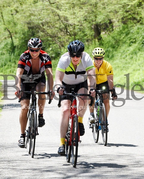 Harold Aughton/Butler Eagle: Denny Soeder of Shaler, Mark Abbott, of Saxonburg, and David Schnur of Butler took a 35 mile bike ride Monday afternoon.