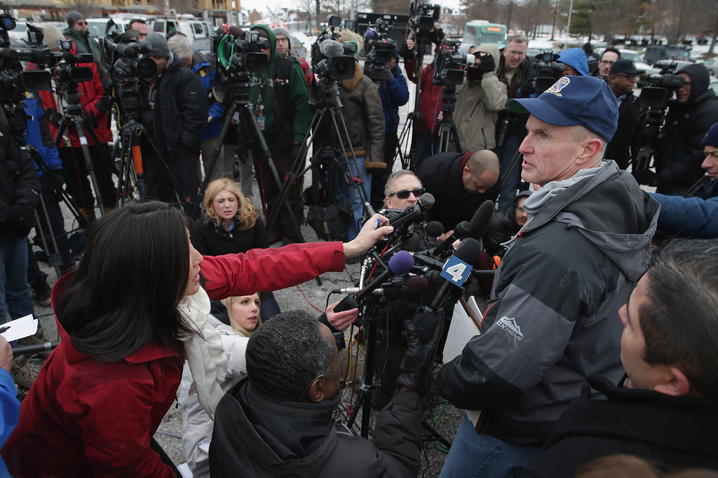 . Howard County, Maryland, Police Chief William J. McMahon talks to reporters outside Columbia Town Center Mall following a shooting situation January 25, 2014 in Columbia, Maryland. Three people are dead after a shooting inside the mall.  (Photo by Chip Somodevilla/Getty Images)