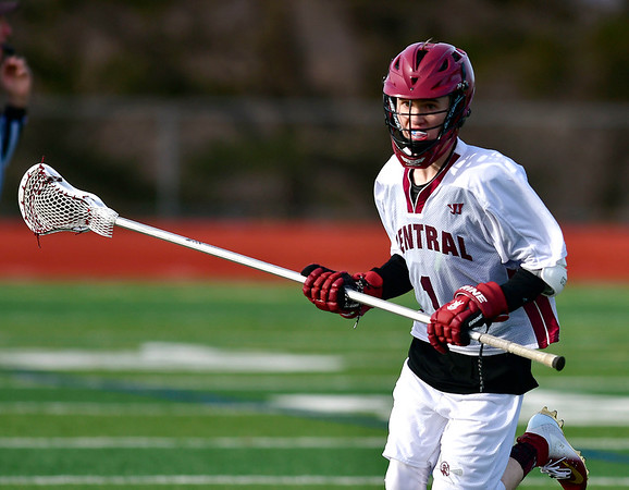 4/4/2019 Mike Orazzi | Staff Bristol Central's Dillon Kelley (1) during Thursday's boys lacrosse with West Haven in Bristol.