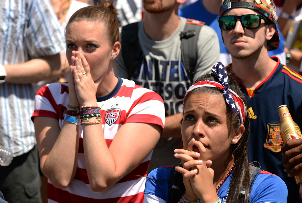. Rylie Thordsen, front right, an dyer friend Katie Branan are watching USA national team world cup game against Belgium at the British Bulldog. Denver. Colorado. July 01. 2014. Belgium eliminated U.S. from World Cup with 2-1 win. (Photo by Hyoung Chang/The Denver Post)