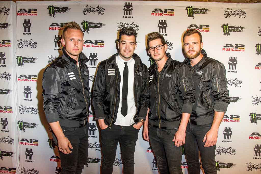. Ron DeChant, from left, Dustin Bates, Brock Richards and Adam Gilbert of Starset seen at 2017 Alternative Press Music Awards at the KeyBank State Theatre on Monday, July 17, 2017, in Cleveland. (Photo by Amy Harris/Invision/AP)