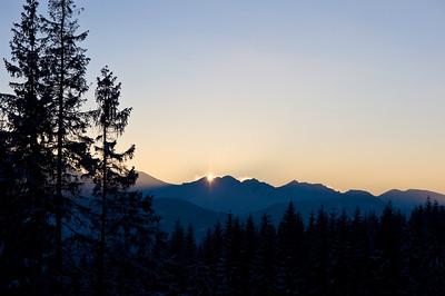 High Tatras seen from Gubalowka Hill, Zakopane, Tatra Mountains, Podhale Region, Poland