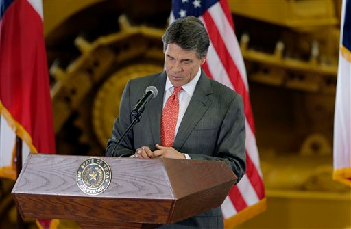 . Texas Gov. Rick Perry speaks to supporters at Holt Cat, Monday, July 8, 2013, in San Antonio where he announced he will not seek reelection. A staunch Christian conservative, proven job-creator and fierce defender of states\' rights, Perry has been in office nearly 13 years, making him the nation\'s longest-sitting current governor. (AP Photo/Eric Gay)