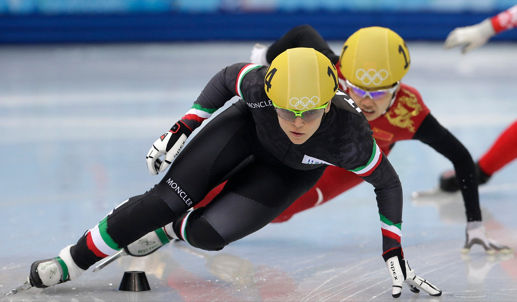 . Arianna Fontana of Italy competes in a women\'s 500m short track speedskating heat at the Iceberg Skating Palace during the 2014 Winter Olympics, Monday, Feb. 10, 2014, in Sochi, Russia. (AP Photo/Darron Cummings)