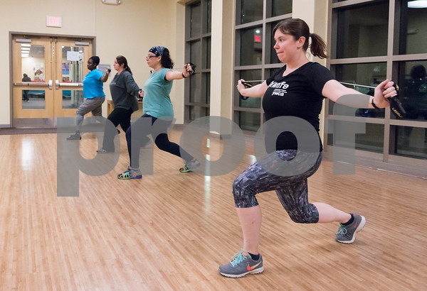 11/13/17 Wesley Bunnell | Staff Taking part of the Les Mills BodyVive class at the YWCA on Monday evening are Shermane Fletcher, far L, Cee Stanga, Diane Filippone and Kelly Selander.