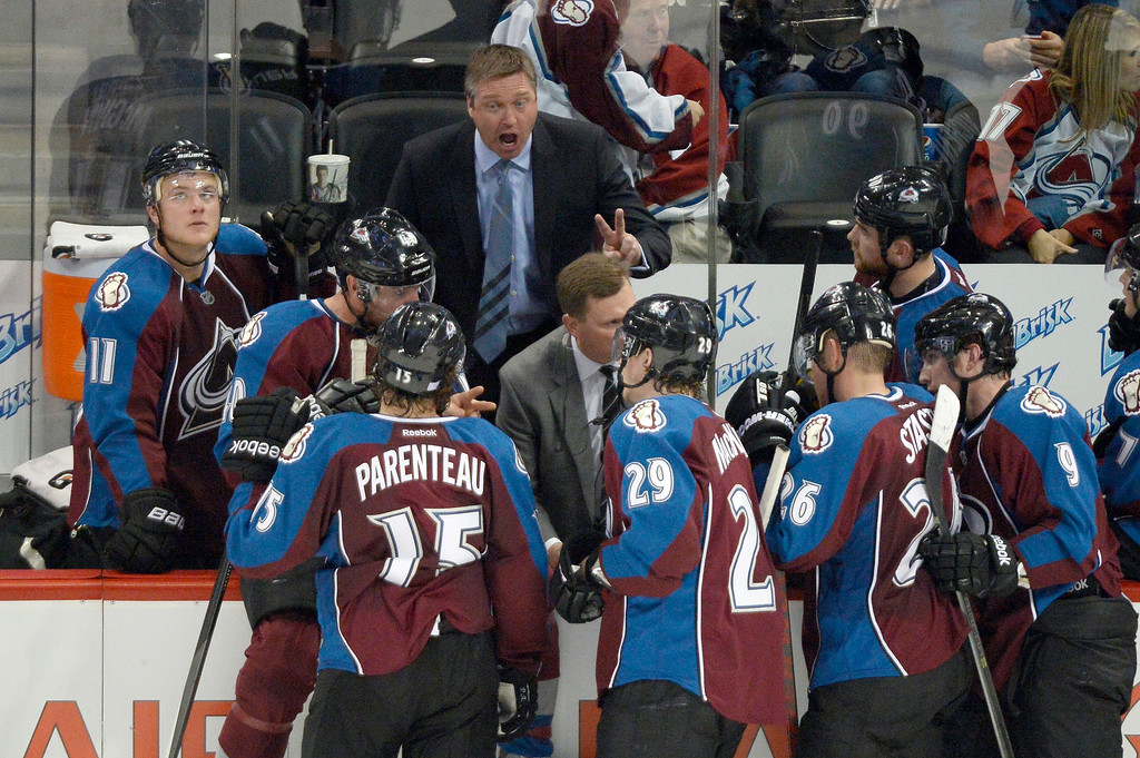 . Colorado Avalanche head coach Patrick Roy yells out during a timeout late in the third period against he Detroit Red Wings October 17, 2013 at Pepsi Center. The Red Wings defeated the Avalanche 4-2. (Photo by John Leyba/The Denver Post)