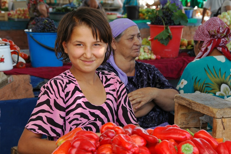 Proud Pepper Vendor at Market - Khiva, Uzbekistan