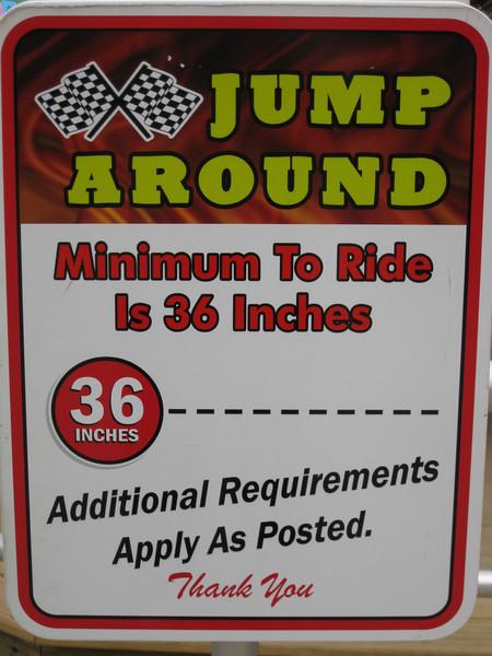 Jump Around height restriction sign.