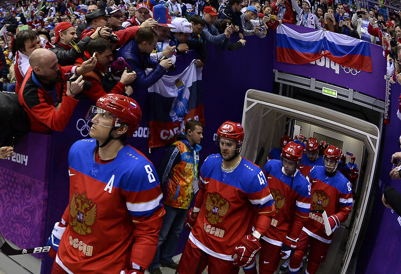 . Russia\'s players go on the ice prior the Men\'s Ice Hockey play-offs qualification match Russia vs Norway at the Bolshoy Ice Dome during the Sochi Winter Olympics on February 18, 2014.  (JONATHAN NACKSTRAND/AFP/Getty Images)