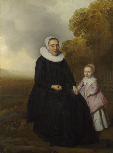 Portrait of a Seated Woman and a Girl in a Landscape