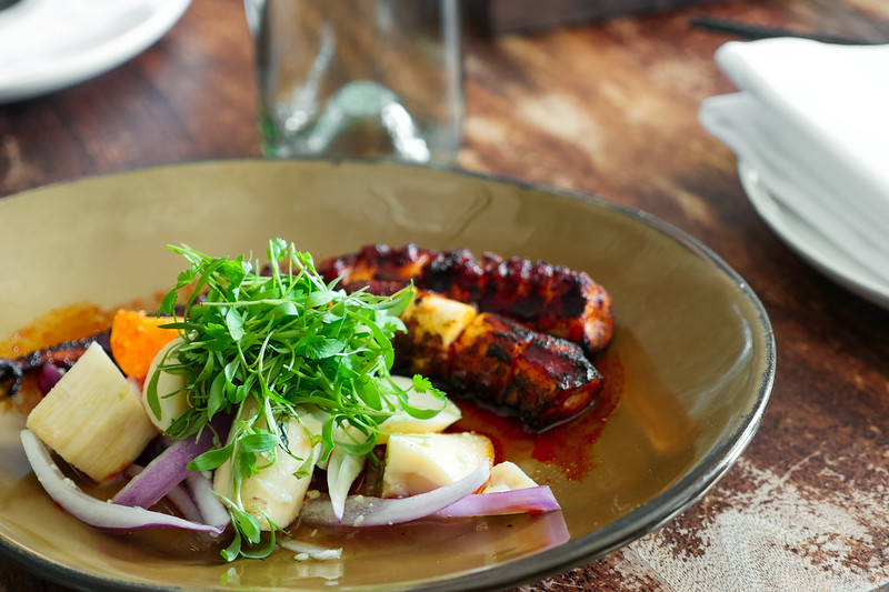Grilled Octopus, Hearts of Palm, Red Onion, and Sudachi Lime