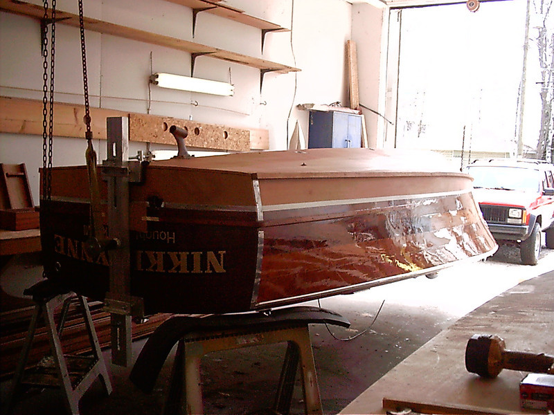 Rear view of boat upside down.