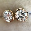 .74ctw Transitional Cut Diamond Earrings, Yellow Gold 13