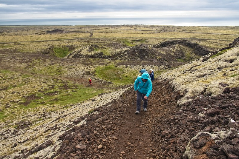Walking uphill to the crater.