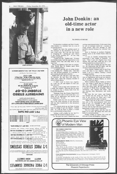 Daily Trojan, Vol. 62, No. 42, November 20, 1970