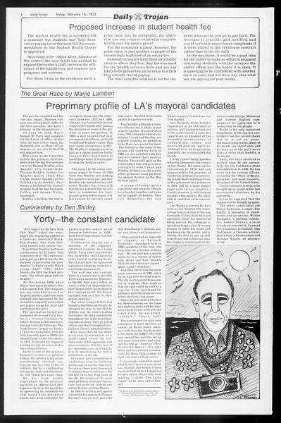Daily Trojan, Vol. 65, No. 74, February 16, 1973