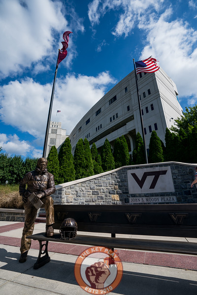The Frank Beamer Statue stands in front of Lane Stadium prior to playing Old Dominion University in Lane Stadium on Saturday, Sept. 7, 2019. (Photo: Cory Hancock)