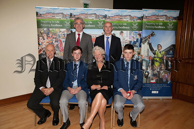 2012 Ulster and All Ireland Senior Boys Champions are pictured with Dame Mary Peters, Declan Mussen Principal Cormac McKinney and Rory Friel (Coach). R1339003