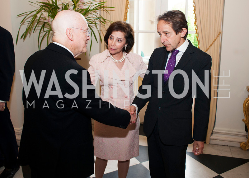 A gentleman greets Lady Westmacott and author Anthony Seldon