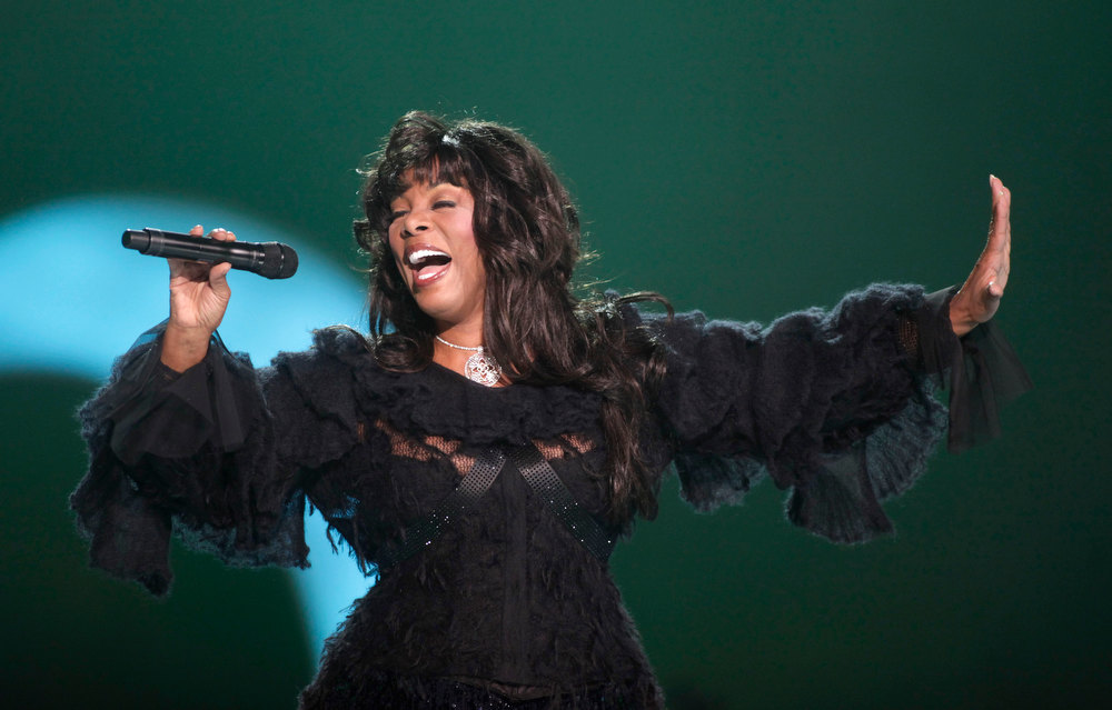 Description of . This Dec. 11, 2009 file photo shows Donna Summer performing at the Nobel Peace concert in Oslo, Norway. The eclectic group of rockers Rush and Heart, rappers Public Enemy, songwriter Randy Newman,