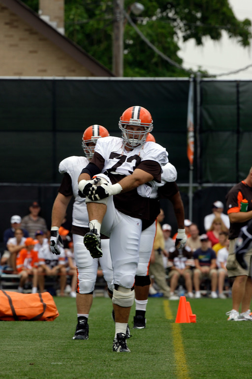 . Cleveland Browns offensive lineman Joe Thomas (73) stretches at the Cleveland Browns NFL football training camp Sunday, Aug. 2, 2009, in Berea, Ohio. (AP Photo/Tony Dejak)