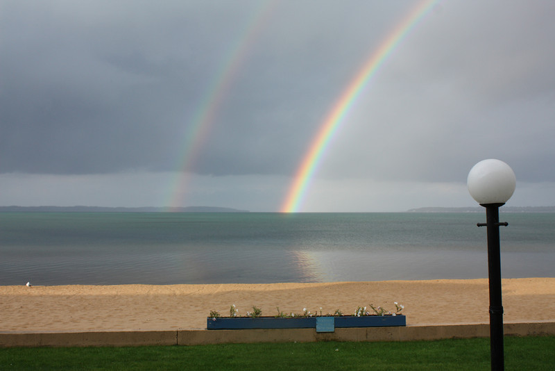 Rainbow as seen from just outside our door at Pinestead Reef