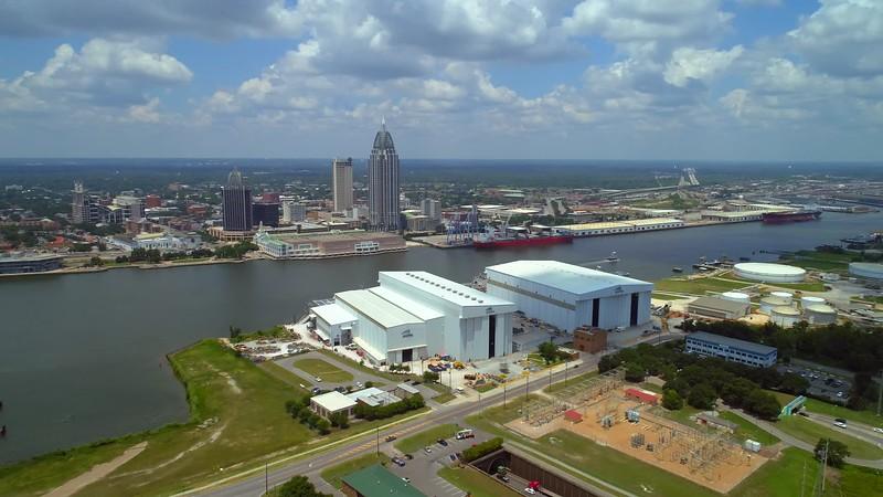 Aerial reveal Port Mobile Alabama USA 4k video tour