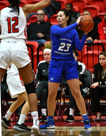 12/21/2019 Mike Orazzi | StaffrCCSU's Danielle Delano (23) during Saturday's women's basketball game with The University of Hartford in West Hartford.