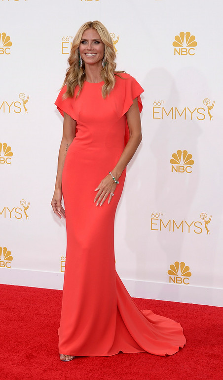 . Heidi Klum on the red carpet at the 66th Primetime Emmy Awards show at the Nokia Theatre in Los Angeles, California on Monday August 25, 2014. (Photo by John McCoy / Los Angeles Daily News)