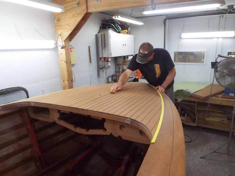 Front deck final sanding.