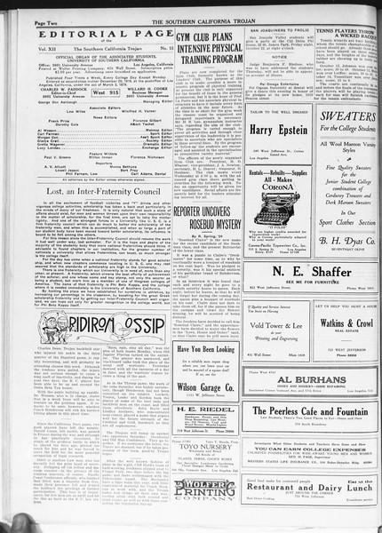 The Southern California Trojan, Vol. 12, No. 15, October 20, 1920